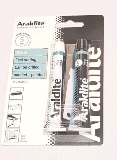 Araldite Rapid Steel 2 X 15ml Tubes - Metal Adhesive Glue 15 Ml