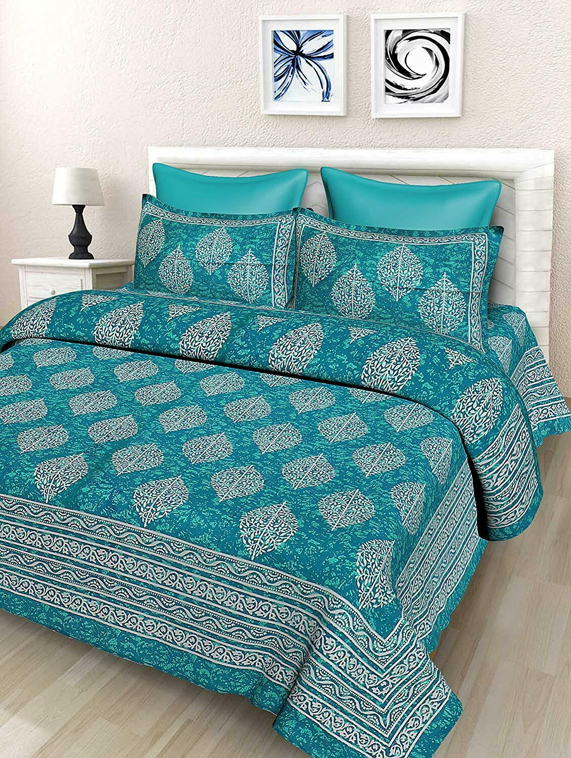 Traditional Cotton Sky bluee-Grey Paisley Print  Spread Bed Sheet With 2 Pillow