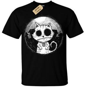 Zombie-Chat-T-Shirt-Hommes-Gothique-Rock-Burton-Halloween-Effrayant-non-Mort