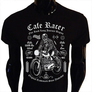 cafe racer t shirt herren damen motorrad fahrrad rider. Black Bedroom Furniture Sets. Home Design Ideas