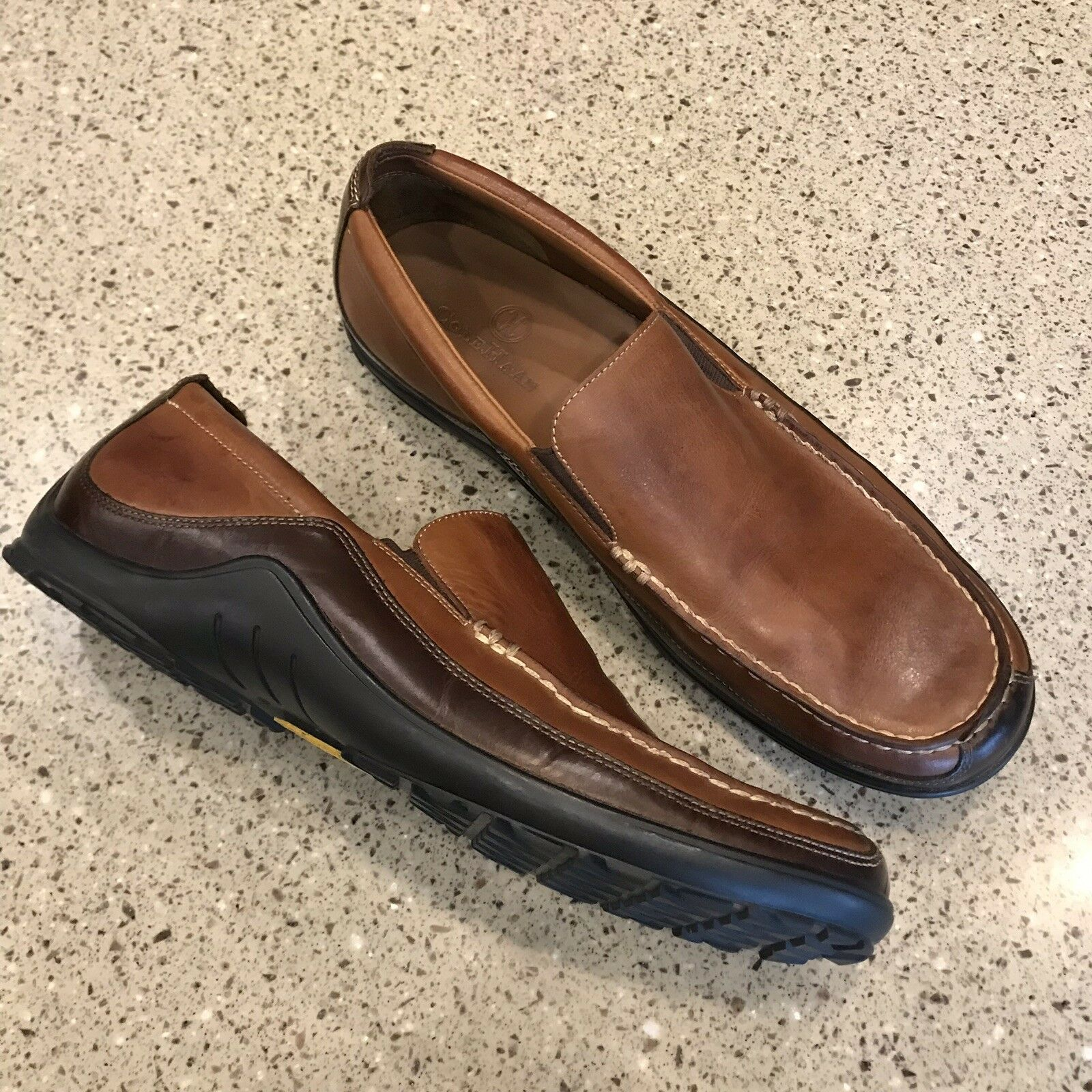 Cole Haan Tucker Venetian Vibram Men's 10.5 Loafer Brown Leather Slip-on
