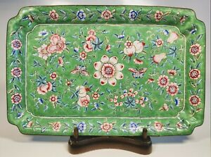 Antique 1920s Chinese Enamel Pink Blue Green Floral Motif on Silver Tray