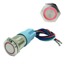 19mm 12v Car Push Button Switch Momentary Engine Start Led Waterproof Red