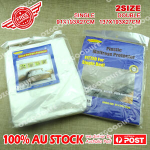 2xWaterproof-Single-double-Mattress-Protector-Cover-Fitted-Plastic-Sheet-Bed