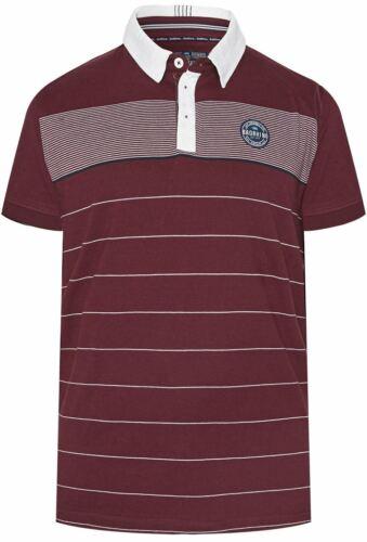 4XL 7XL-8XL Bad Rhino Woven Collar Striped Polo Shirt in Burgundy 3XL 5XL-6XL