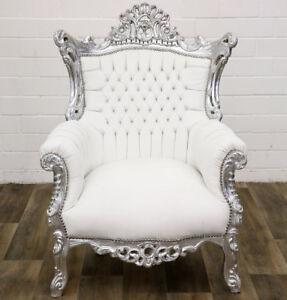 Luxus Barock Stuhl Silber Neu Bequemer Sessel Antik Weiß Faux Leder