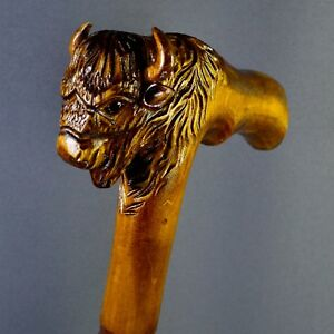 Bison Buffalo Cane Walking Stick Wood Wooden Handmade Woodcarving Exclusive Rare Une Grande VariéTé De ModèLes