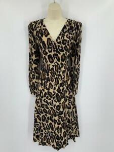 Diane von Furstenberg Viviana Leopard Cat Sand silk dress midi brown black New 2