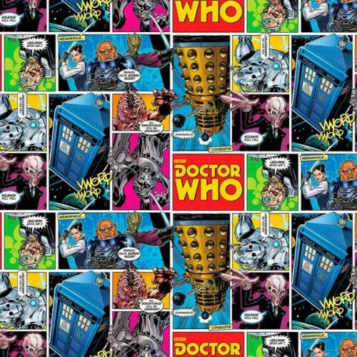 Fat Quarter Doctor Who Comic Streifen 100/% Baumwolle Quilt Stoff