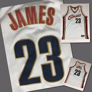 low priced 87e60 6cc5a Details about Men's Authentic LEBRON JAMES Cleveland Cavaliers WHITE Nike  STITCHED Jersey - XL