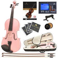Cecilio 4/4 Ebony Fitted Solidwood Violin Metallic Pink +Tuner+Book/Audio/Video