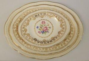 Stetson-American-Beauty-22kt-Gold-Dinnerware-Floral-Serving-Plates-3-Set
