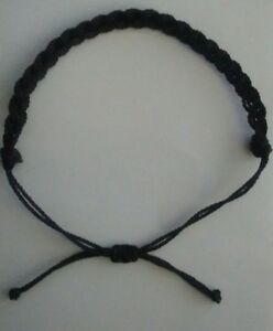 861fc409eb83f Details about 2 BLACK Braided Lucky String Love Adjustable Erik's Bracelets  Matching PAIR