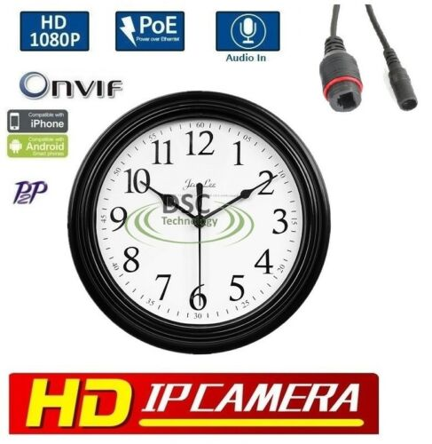 1080P resolution Wall Clock Style IP Hidden Camera Onvif P2P Audio PoE