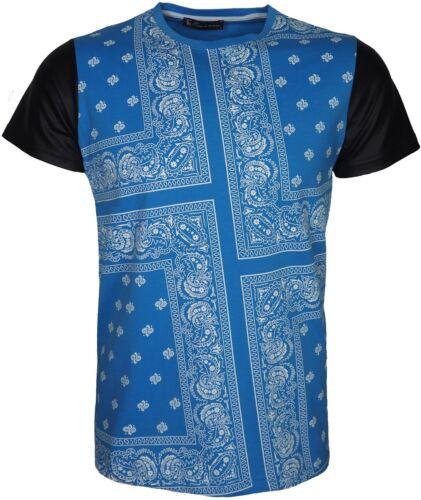 Mens Designer Bandana Print T Shirt Short Imitation Leather Sleeves Plain Back