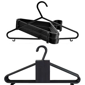 BLACK ADULT PLASTIC CLOTHES COAT TROUSERS HANGERS WITH TROUSER BAR