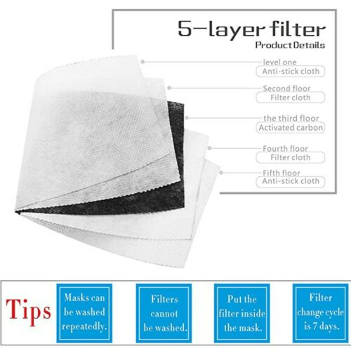 4PCS Cotton Face Cover With 8pcs Actived Carbon Filter Washable Reusable