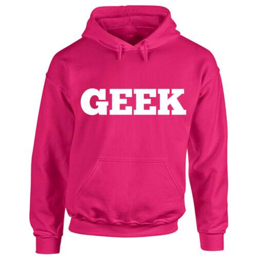 Funny Ironic Hooded Top Old School Hipster Cool Nerd Unisex Geek Hoodie