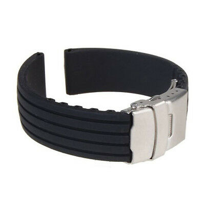 New Silicone Rubber Watch Strap Band Deployment Buckle Waterproof 18mm ~ 24mm OK