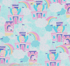 Fairy Princess Castle Unicorns Stars Clouds Flannel Fabric BTY