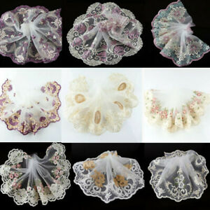 2 Yards Embroidered Fabric Tulle Lace Trim Lace Floral Ribbon DIY Sewing Craft