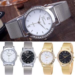 Moda-Mujer-Senora-Reloj-Acero-Inoxidable-Cuarzo-Analogico-Forma-Relojes-Pulsera