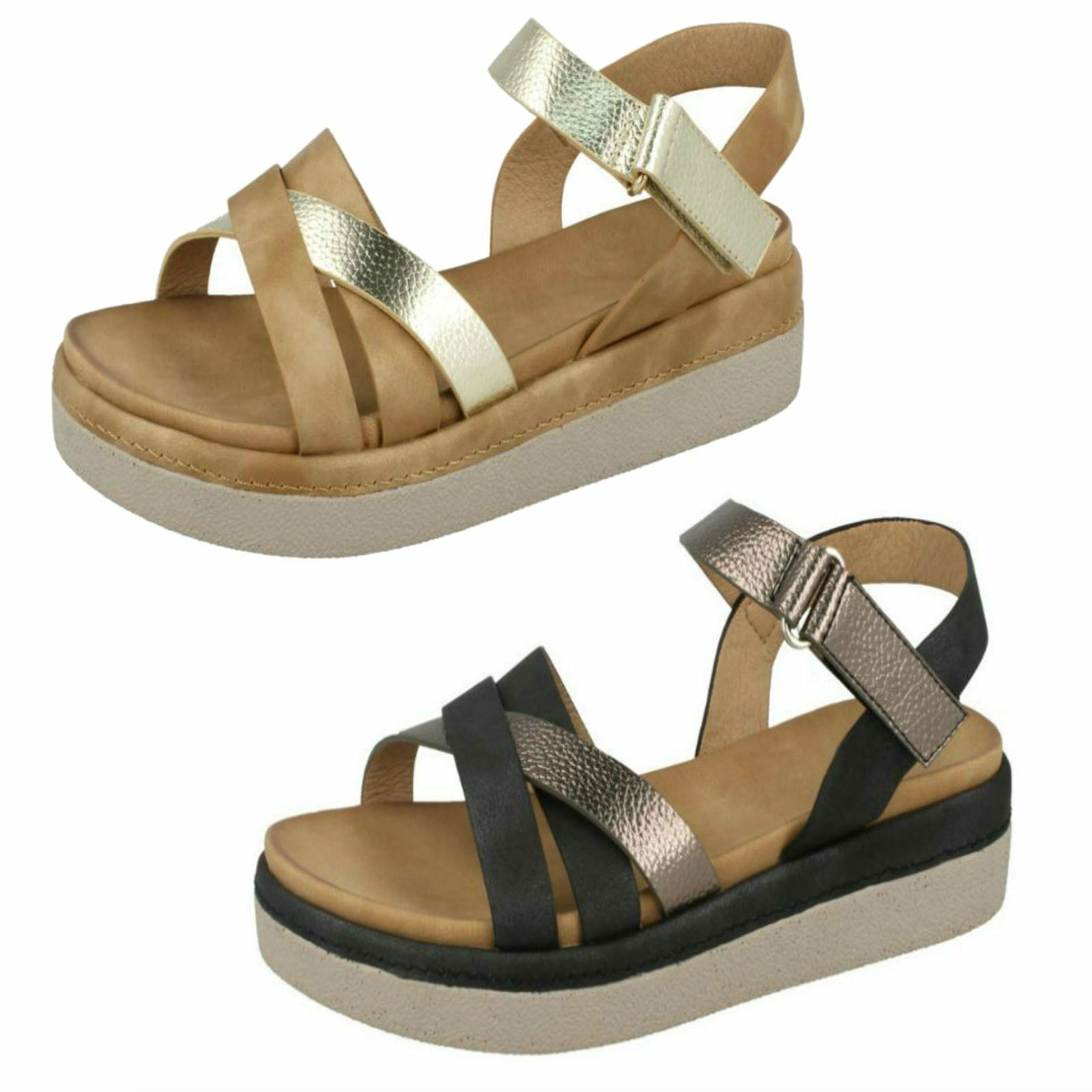 SALE Ladies by F1R0816 Strappy Platform Sandals by Ladies Spot On 2c2a09