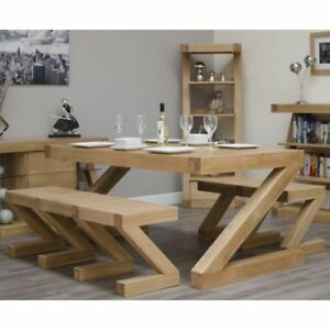 Admirable Details About Z Solid Oak Dining Room Furniture Dining Table And Two Benches Set Machost Co Dining Chair Design Ideas Machostcouk