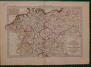 1780 DATED RIGOBERT BONNE MAP ~ THE EMPIRE OF GERMANY KINGDOM OF BOHEMIA