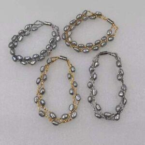 Genuine-baroque-gray-cultured-freshwater-pearl-bracelet-5-6mm-6-7mm