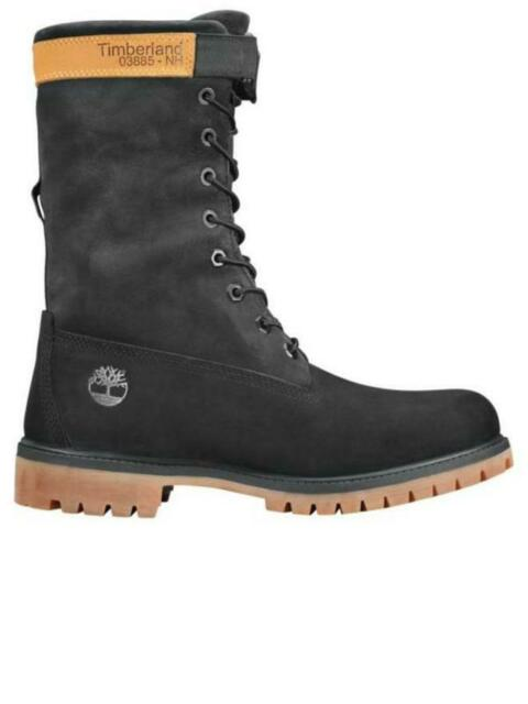 Timberland 6 Inch Premium Black Leather Nubuck Lace Up Mens Boots 73541 B70E