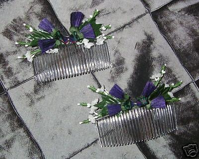 Details about  Bride Bridesmaid Flowergirl large SCOTTISH hair combs