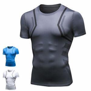 New 039 Skin Tight Compression Base Layer Blue Running Shirt Mens S 2xl