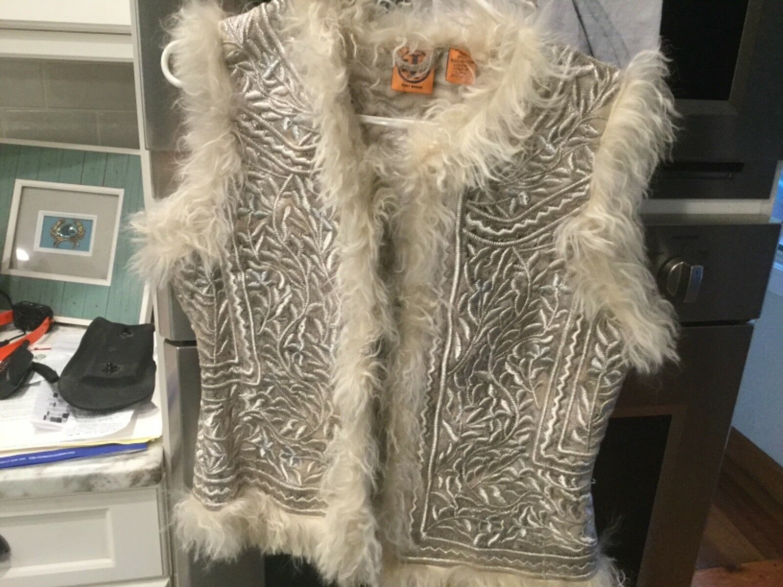 New. Tory Burch embroidered and fur vest. Sz L