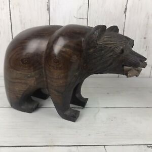 Hand-Carved-Ironwood-Grizzly-Bear-With-Fish-Figurine-Wood-Carving-8-5-L-3-5-Lbs