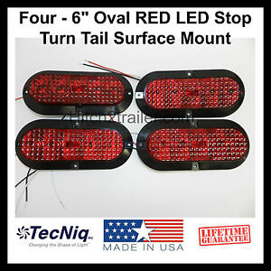 """8 Oval 6/"""" Red Clear LED Stop Turn Tail Light Truck Trailer Surface Mount Marine"""