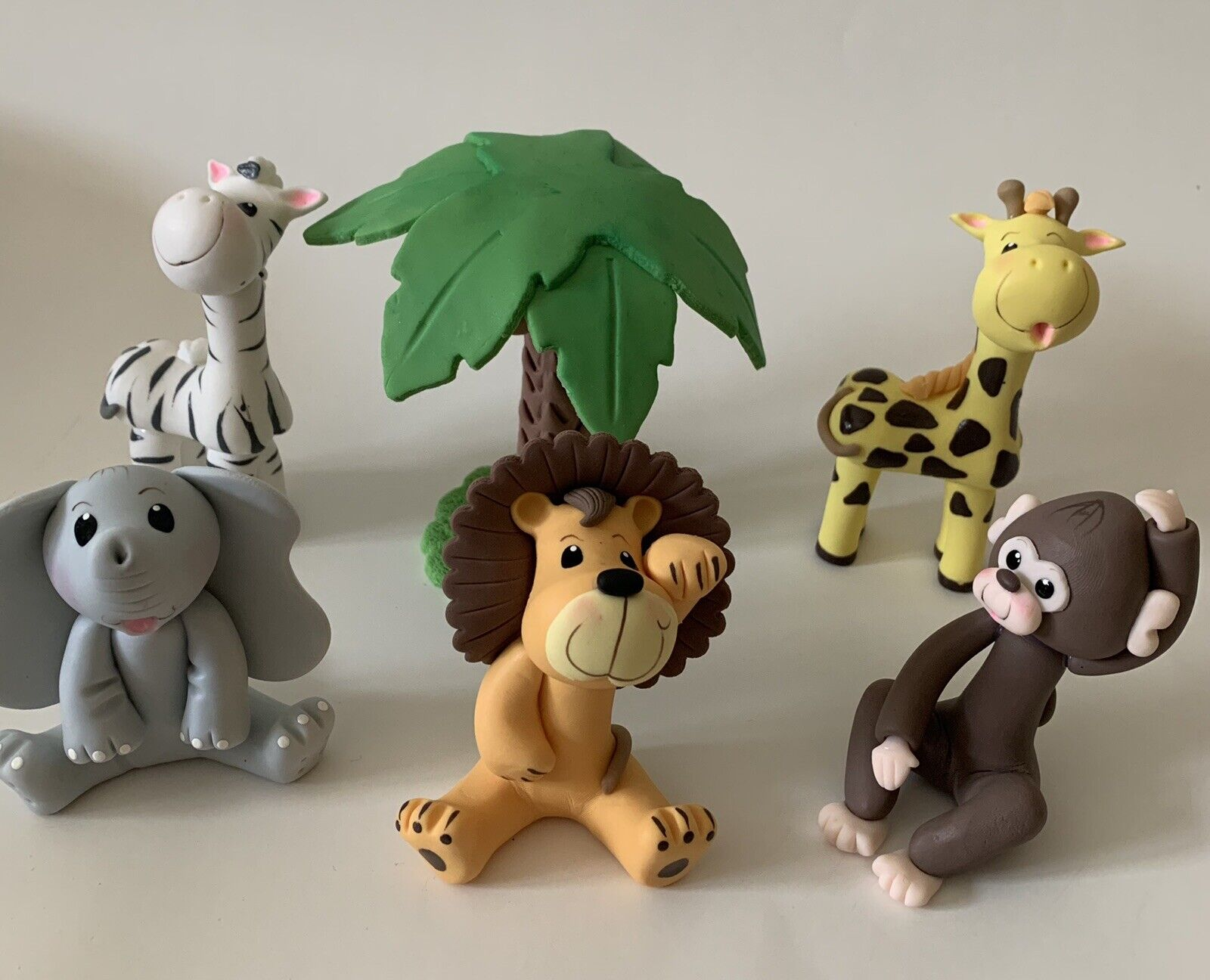 Jungle Animals Cake Toppers Set. 6 Pieces.