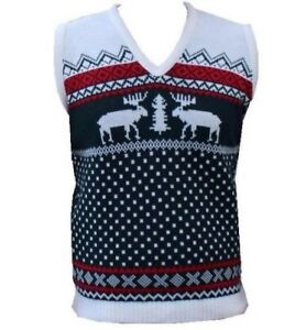 4faeb248865a3 Image is loading NEW-KNITTED-MENS-TANKTOP-VEST-FUNNY-CHRISTMAS-SLEEVELESS-