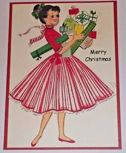 Handmade Greeting Card 3D Christmas Vintage Style With A Girl In A Striped Dress