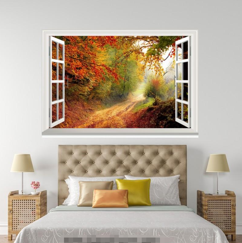 3D Autumn Forest 859 Open Windows WallPaper Murals Wall Print Decal Deco AJ WALL