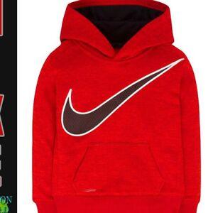 53da66cf3 NIKE Hoodie THERMA FIT New Boys BLACK RED Fleece Jacket 7 $44 Active