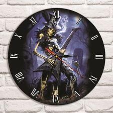 Reloj De Pared diseño de color de Slash Esqueleto De Discos De Vinilo Arte Hogar Oficina Tienda de Hobby