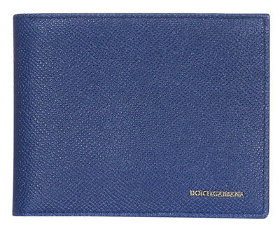 Dolce /& Gabbana Dark Blue Pebbled Leather Logo Plaque Bee Print Bi Fold Wallet