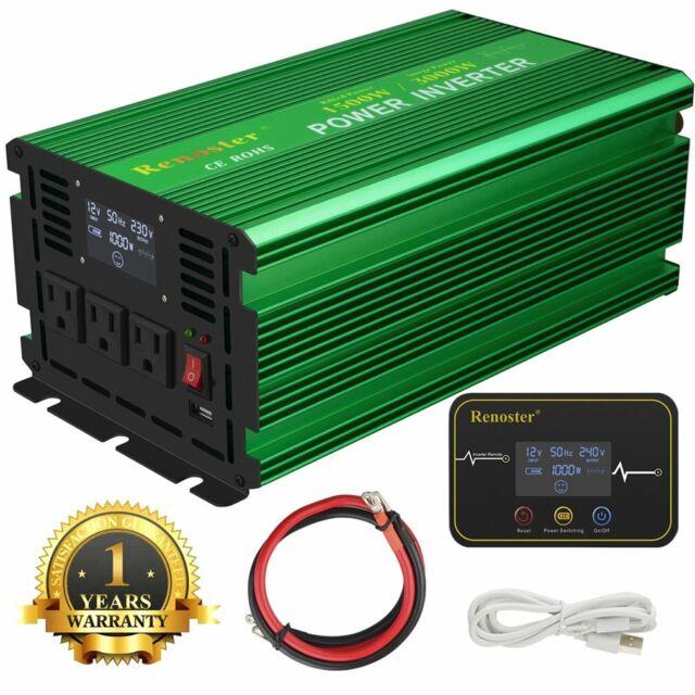EDECOA Power Inverter 1500W 3000 Watt Pure Sine Wave 12V dc 110V 120V ac LCD RV