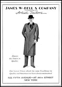 1931 James W Bell & Co men's tailor NYC fifth avenue vintage art Print Ad adL32