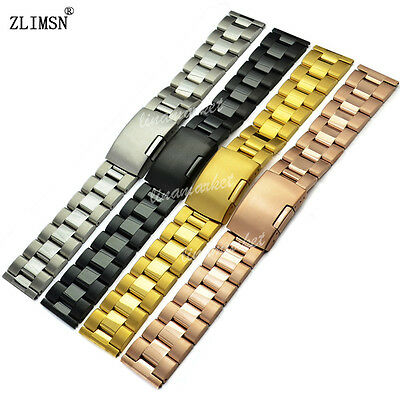 16 18 19 20 22 24 26 28 30mm NEW SOLID SS SILVER GOLD BLACK WATCH BAND BRACELETS