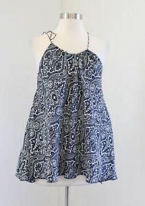 Club Monaco Womens Navy Blue Paisley Print Silk Swing Tank Top Blouse Size S