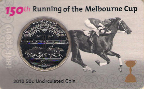 2010 50c 150th Running of the Melbourne Cup Coin /& Card:Unc