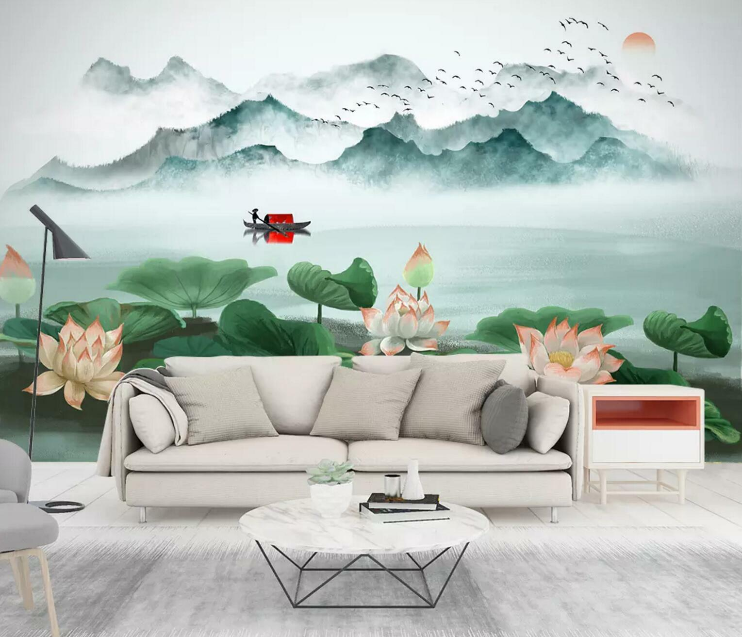 3D Lake Lotus Leaf 71 Wall Paper Exclusive MXY Wallpaper Mural Decal Indoor Wall