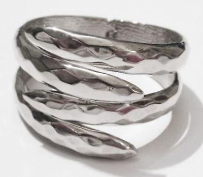Bracelet Rétro Rigide Bijou Vintage Griffes Couleur Argent Poli à Facette *1633